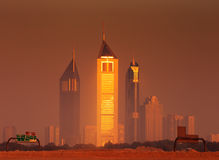 Dubai skyline as seen from Business Bay Royalty Free Stock Photo