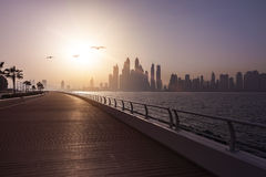 Dubai Skyline Boardwalk Stock Photography