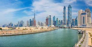 Dubai - The skyline with the bridge over the new Canal and Downtown.  Stock Photography