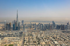 Dubai skyline Burj Khalifa aerial view photography Royalty Free Stock Images
