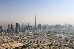 Dubai skyline Burj Khalifa Downtown aerial view photography Royalty Free Stock Photography