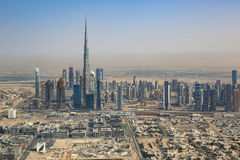 Dubai skyline Burj Khalifa skyscraper aerial view photography Royalty Free Stock Image