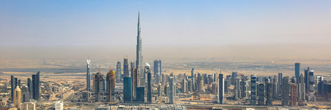 Dubai skyline Burj Khalifa skyscraper panorama panoramic aerial Stock Photos