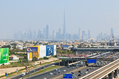 Dubai Skyline, city and Burj Khalifa. Stock Image