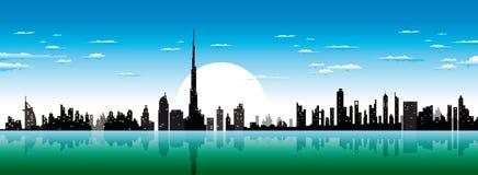 Dubai skyline. Dubai city skyline illustrated view Royalty Free Stock Photos