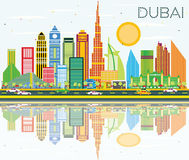 Dubai Skyline with Color Buildings, Blue Sky and Reflection. Royalty Free Stock Images