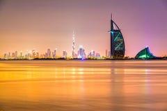 Dubai Skyline, Dubai, UAE. Dubai Skyline at dusk with the Burj Al Arab, Dubai, UAE royalty free stock photography