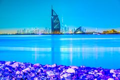 Dubai Skyline, Dubai, UAE. Dubai Skyline at dusk with the Burj Al Arab, Dubai, UAE royalty free stock image