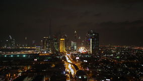 Dubai skyline at dusk down Sheikh Zayed Road stock video footage