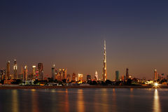 Dubai Skyline at dusk looking from Jumeirah Beach Stock Images