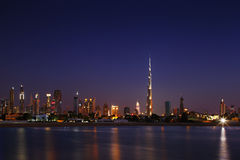 Dubai Skyline at dusk looking from Jumeirah Beach Royalty Free Stock Images