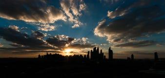 Dubai Skyline at dusk Stock Photos