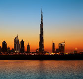 Dubai skyline at dusk seen from the Gulf Coast Stock Images
