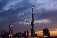 Dubai skyline at dusk Royalty Free Stock Photos