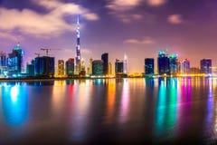 Dubai skyline. At dusk, UAE