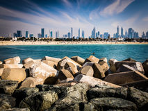 Dubai skyline from Jumeirah Beach Stock Images