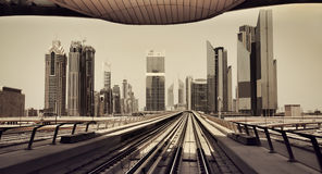 Dubai Skyline from Metro Royalty Free Stock Photography