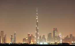 Dubai skyline at night Stock Image