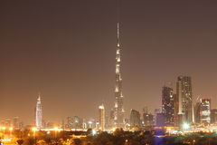 Dubai skyline at night Royalty Free Stock Image