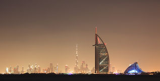 Dubai skyline at night Royalty Free Stock Photos