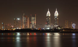 Dubai skyline at night Royalty Free Stock Images