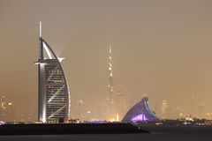 Dubai skyline at night Stock Photo