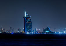Dubai Skyline by night Stock Photography