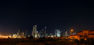 Dubai skyline at night. Dubai financial center, UAE Stock Photo