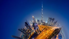Dubai skyline, downtown city center. Dubai skyline at night, Little Planet effect. panoramic aerial top view to downtown city center landmarks stock image