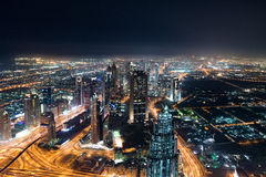Dubai Skyline at Night royalty free stock photography