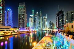 Dubai skyline during night. Dubai marina promenade, United Arab Emirates. Dubai skyline during night. Water canal highlighted by skyscraper neons. One of the royalty free stock images