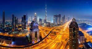 Dubai skyline, downtown city center. Dubai skyline at night, panoramic aerial top view to downtown city center landmarks. Famous viewpoint, United Arab Emirates royalty free stock photo