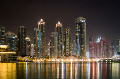Dubai Skyline at Night Royalty Free Stock Images