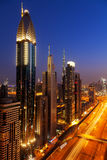 Dubai skyline at night Stock Photography