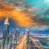 Dubai skyline over Sheikh Zayed road at night Stock Image