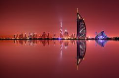 Dubai skyline reflection at night, Dubai, United Arab Emirates Royalty Free Stock Photography