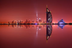 Dubai skyline reflection, Dubai, United Arab Emirates Royalty Free Stock Images