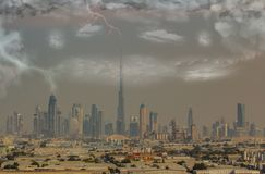 Dubai skyline at the sandstorm and thunderstorms with lightnings.  stock image