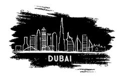 Dubai Skyline Silhouette. Hand Drawn Sketch. Vector Illustration Stock Photography