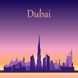 Dubai skyline silhouette on sunset background Royalty Free Stock Photos