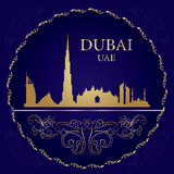 Dubai skyline silhouette on vintage background Stock Photos