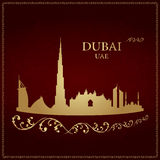 Dubai skyline silhouette on vintage background. Vector illustration Royalty Free Illustration