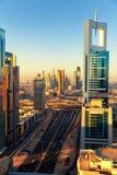 Dubai skyline at sunrise Royalty Free Stock Image