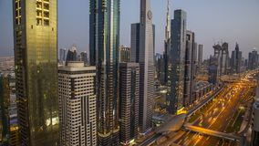 Dubai skyline during sunset with amazing city center lights and road traffic UAE. Dubai skyline during sunset with amazing city center lights and road traffic stock video