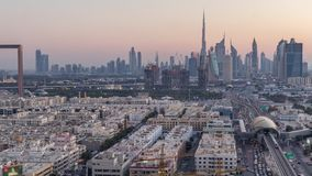 Dubai skyline after sunset with beautiful city center lights and Sheikh Zayed road traffic timelapse, Dubai, United Arab. Dubai skyline after sunset with stock footage