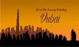 The Dubai Skyline at sunset Stock Image