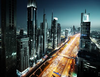 Dubai skyline in sunset time, UAE Royalty Free Stock Photography