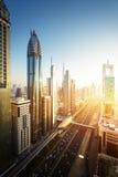 Dubai skyline in sunset time Stock Photos