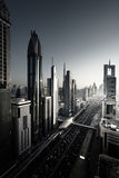 Dubai skyline in sunset time Stock Images