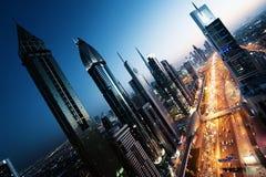 Dubai skyline in sunset time Royalty Free Stock Photo